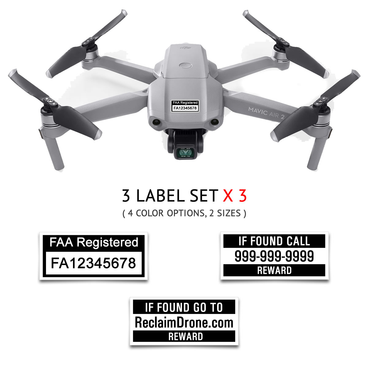 Mavic Air 2 – FAA Registration Labels, FAA and Phone number in black on white background