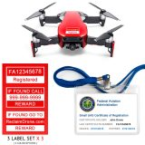 DJI Mavic Air (shown in Flame Red) - FAA Identification Bundle, FAA Registration Number Labels and Registration ID Card for Hobbyist Pilots