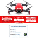 DJI Mavic Air (shown in Flame Red) - FAA Identification Bundle, FAA Registration Number Labels and Registration ID Card for Commercial Pilots
