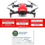 DJI Mavic Air (shown in Flame Red) - FAA Identification Bundle, FAA Registration Number Labels and Registration ID Card for Hobbyist