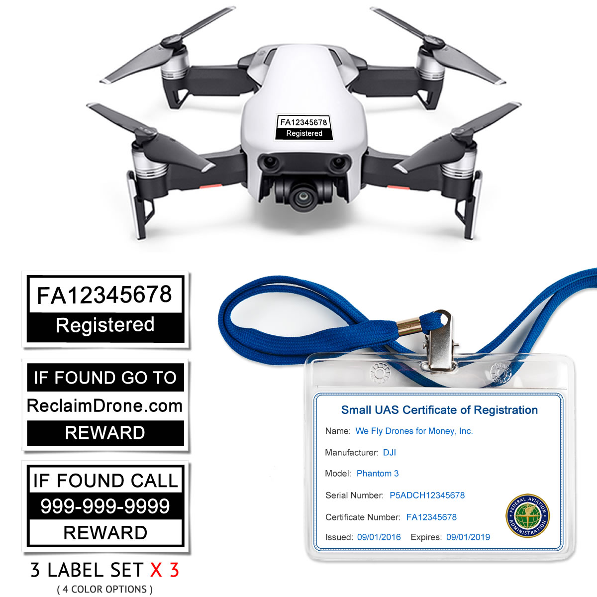DJI Mavic Air (shown in White) – FAA Identification Bundle, FAA Registration Number Labels and Registration ID Card for Commercial Pilots