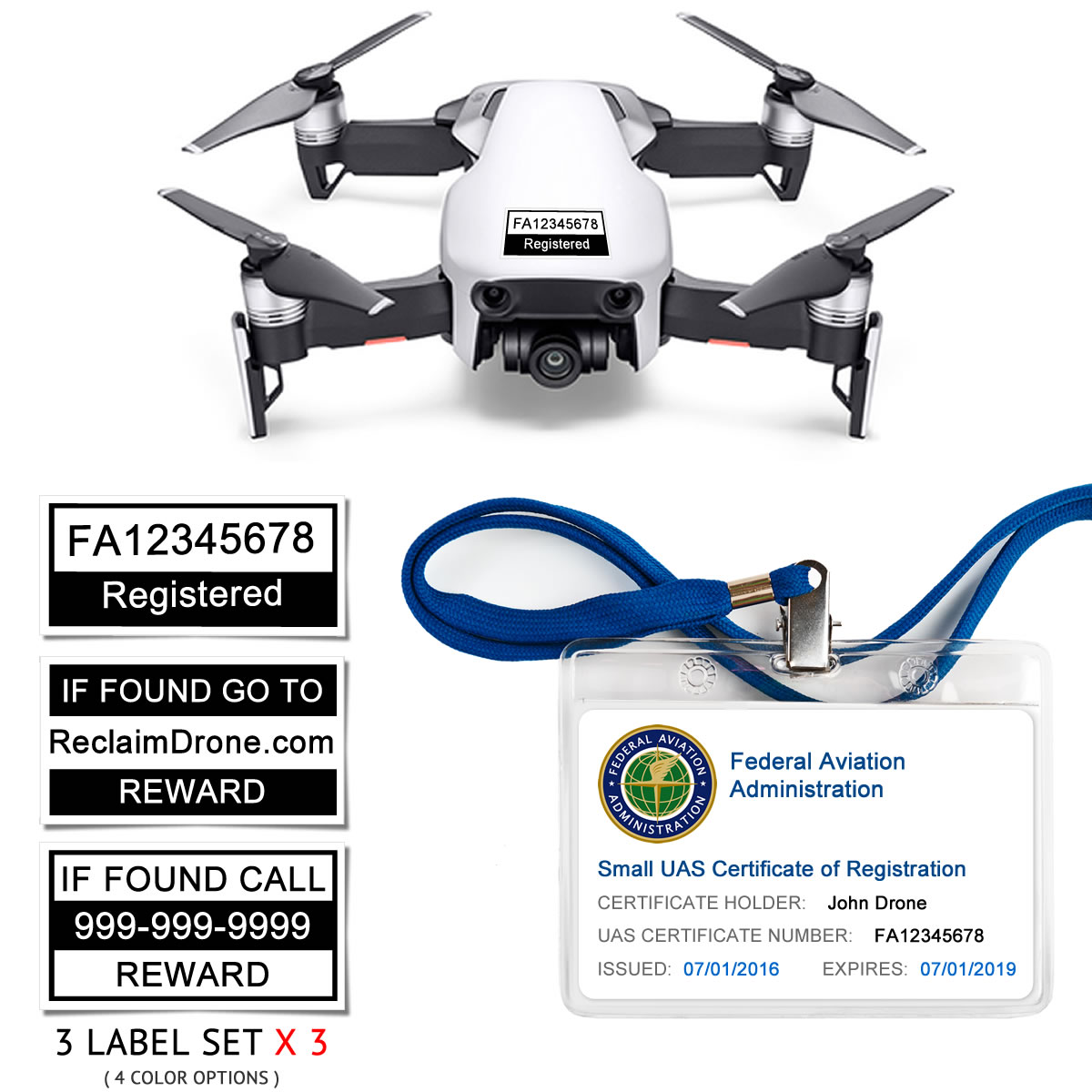 DJI Mavic Air (shown in White) – FAA Identification Bundle, FAA Registration Number Labels and Registration ID Card for Hobbyist Pilots