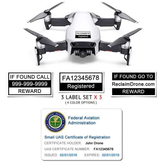 DJI Mavic Air (shown in White) - FAA Identification Bundle, FAA Registration Number Labels and Registration ID Card for Hobbyists