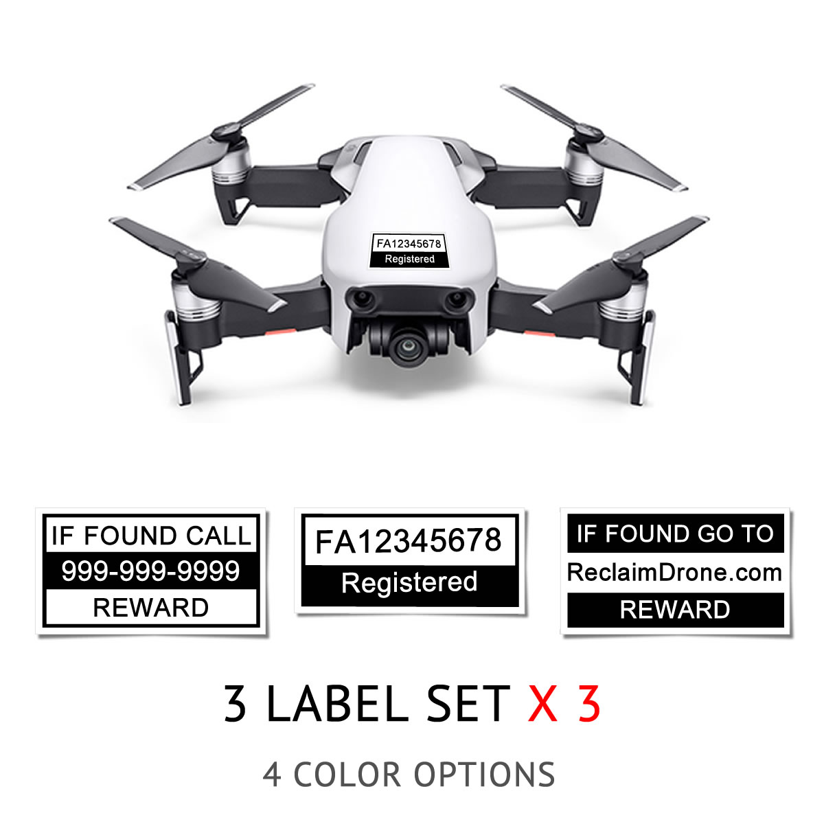 DJI Mavic Air FAA Registration Number And Phone Labels