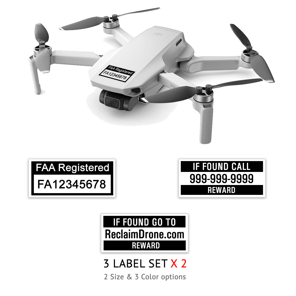 Mavic Mini – FAA Registration Labels, FAA and Phone number in black on white background