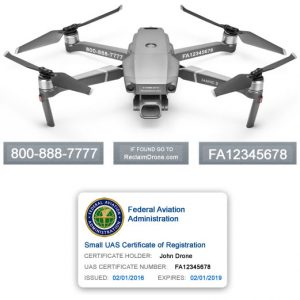 DJI Mavic Pro 2 | Zoom FAA UAS Registration Certificate and identification labels