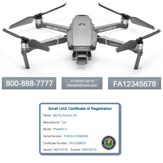 DJI Mavic Pro 2 | Zoom FAA UAS Registration Certificate and identification labels