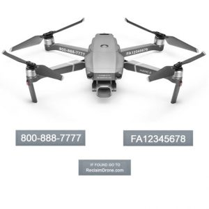Mavic Pro 2 or Zoom FAA Certificate Registration labels for hobbyist drone pilots