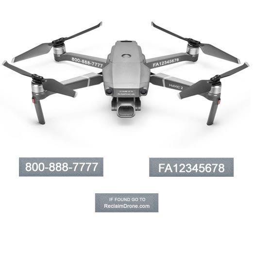 Mavic Pro 2 or Zoom FAA Certificate Registration labels for hobbyist drone pilots