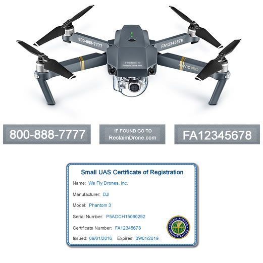 Mavic Pro FAA Certificate Registration ID card and label bundle for commercial drone pilots
