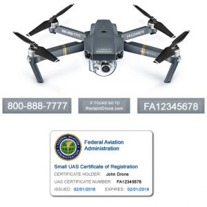 DJI Mavic Pro FAA UAS Registration Certificate and identification labels