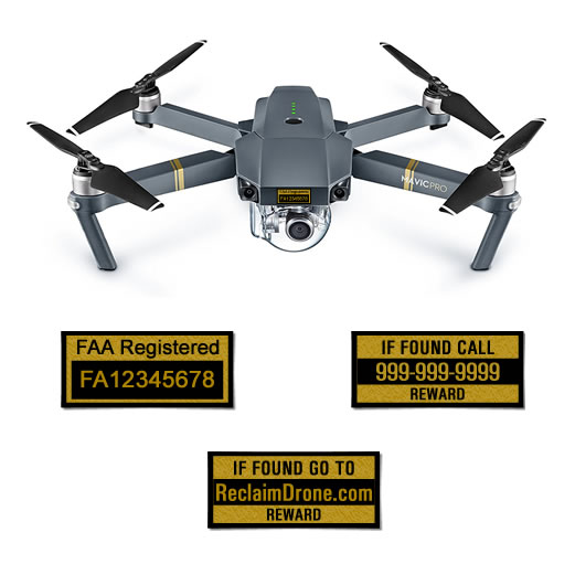 DJI Mavic Pro FAA Certificate of Registration and phone number labels