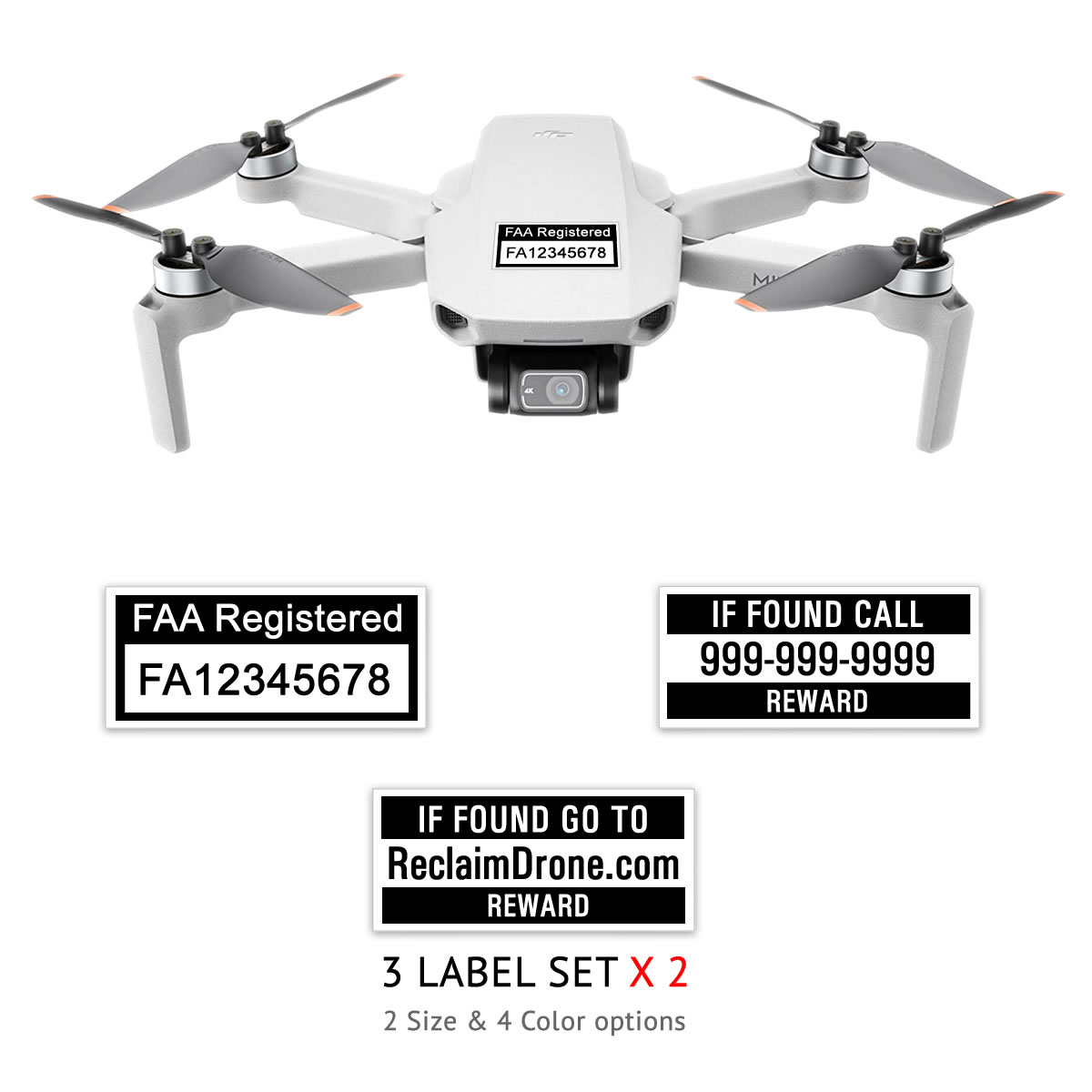 DJI Mini 2 – FAA Registration Labels, FAA and Phone number in black on white background