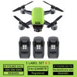 DJI Spark - Green - with multiple batteries all with identification labels