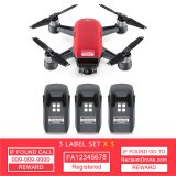 DJI Spark - Red - with multiple batteries all with identification labels