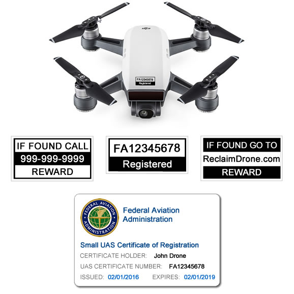 DJI Spark - White - with FAA identification labels and FAA UAS Certificate ID Card