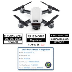 DJI Spark FAA REgistration Identification label and ID card bundle