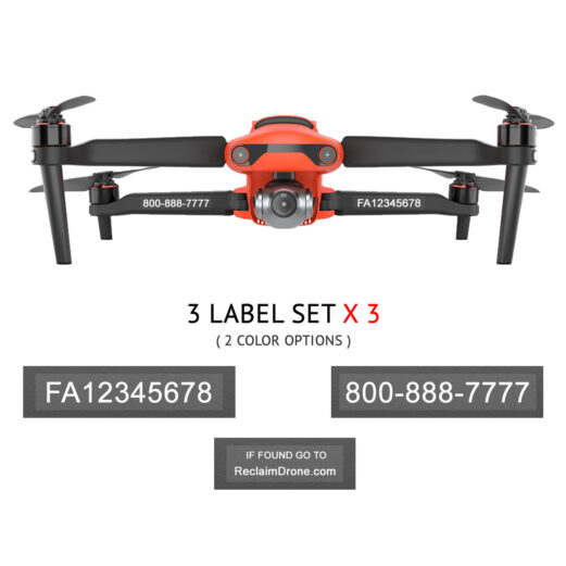 Autel EVO 2 - FAA Registration Labels, FAA and Phone number in white on clear background