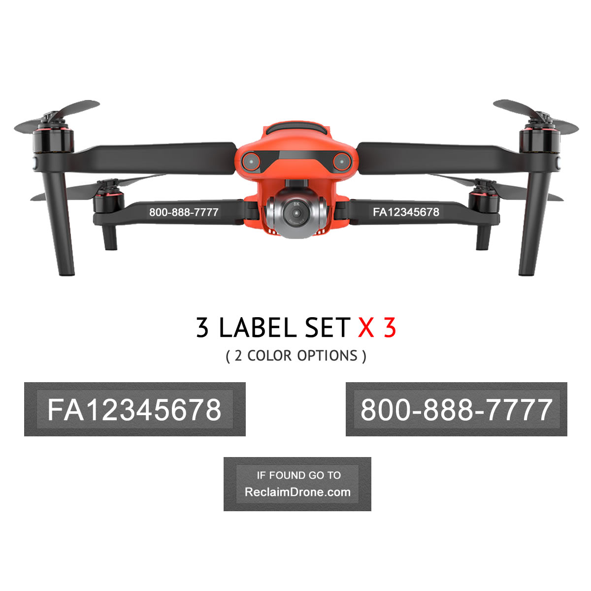 Autel EVO 2 – FAA Registration Labels, FAA and Phone number in white on clear background