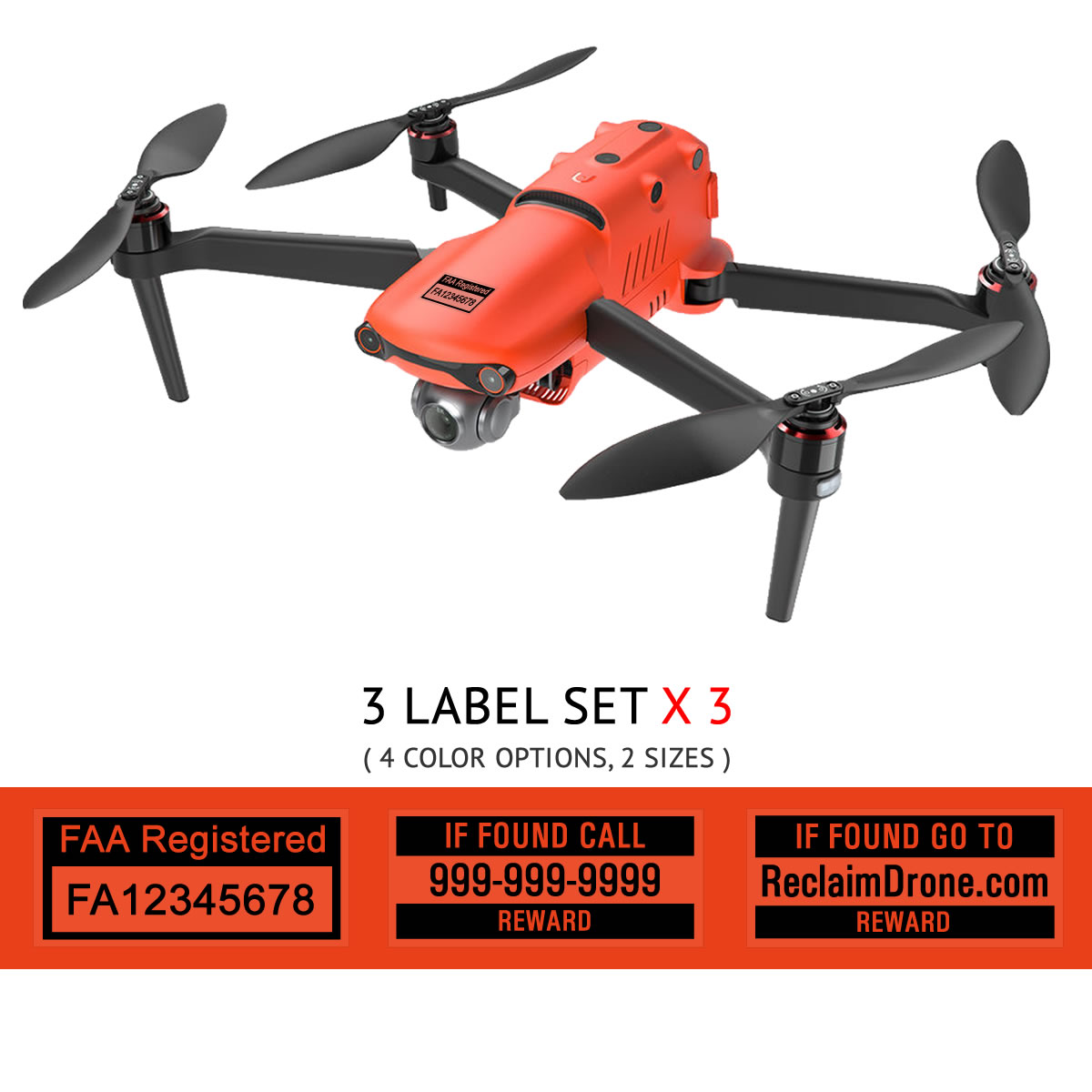 Autel EVO 2 – FAA Registration Labels, FAA and Phone number in black on clear background