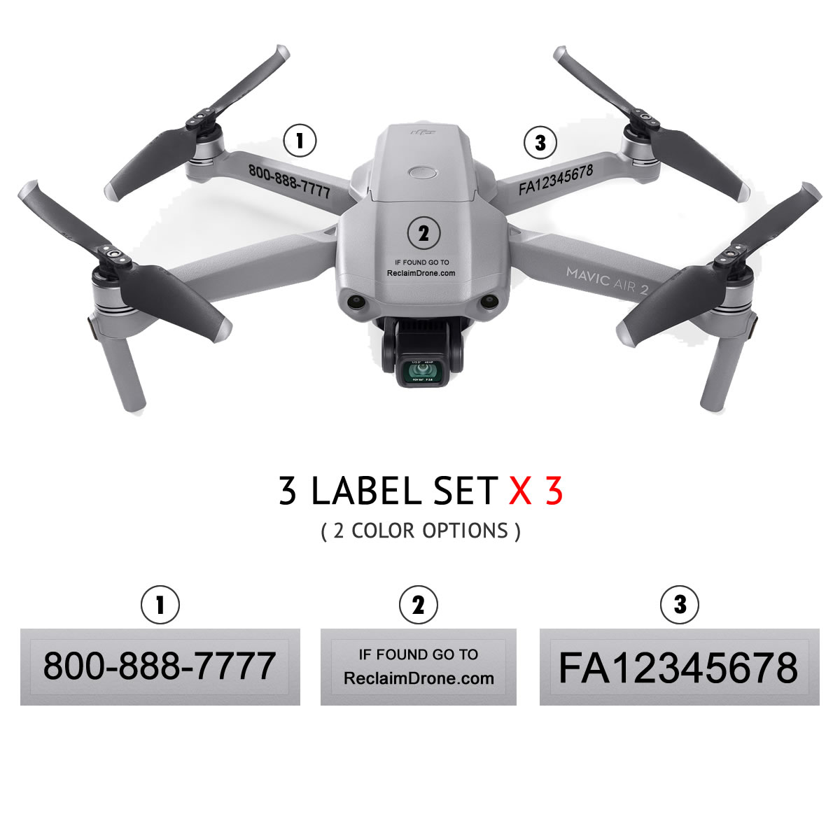 Mavic Air 2 – FAA Registration Labels, FAA and Phone number in black text on clear background
