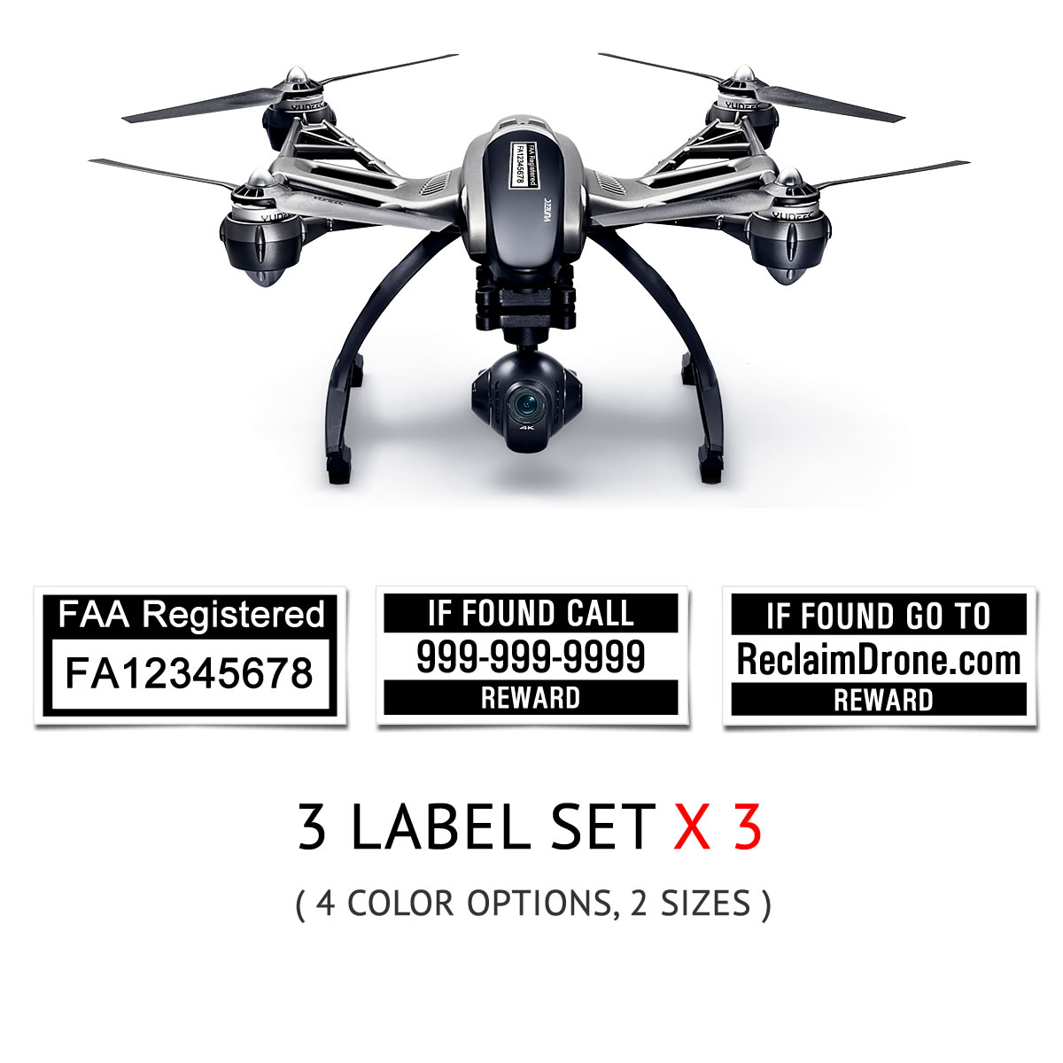 Yuneec Typhoon Q500 | 4K FAA UAS Registration and phone number labels by Reclaimdrone.com