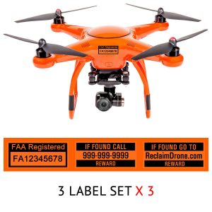 Autel X-Star FAA UAS Registration and phone number labels by Reclaimdrone.com
