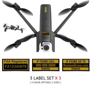 Parrot Anafi FAA UAS Registration and phone number labels by Reclaimdrone.com