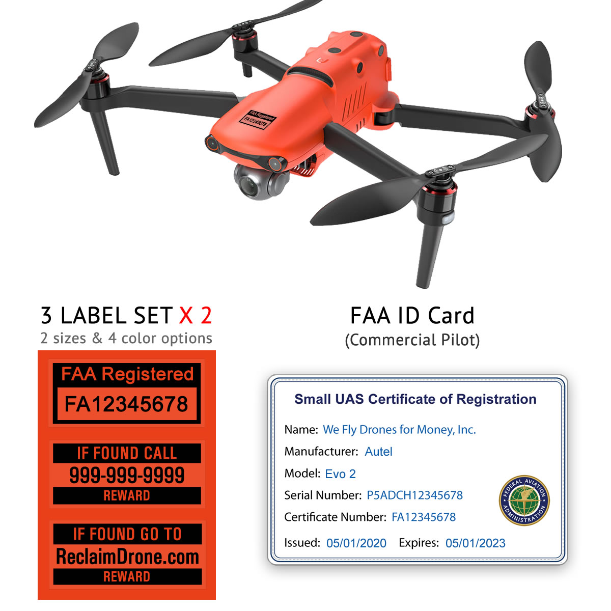 Autel Evo 2 – Bundle – FAA Registration Labels and Commercial FAA ID Card