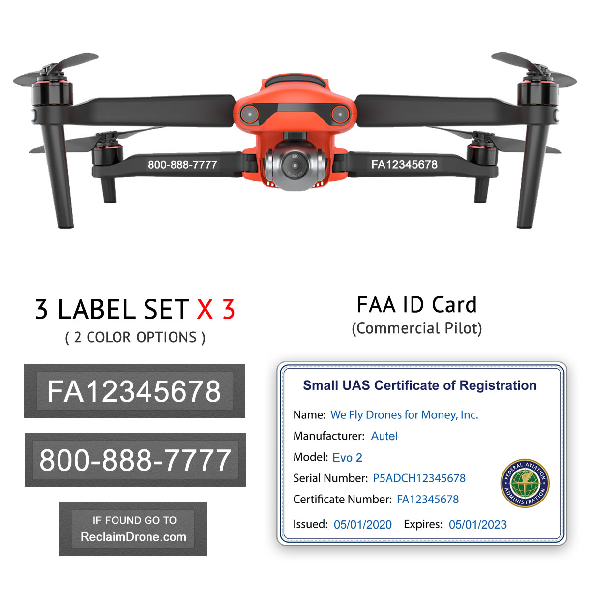 bunAutel Evo 2 – Bundle – FAA Registration Labels and Commercial FAA ID Carddle-commercial-Evo-2-2-white-1200px