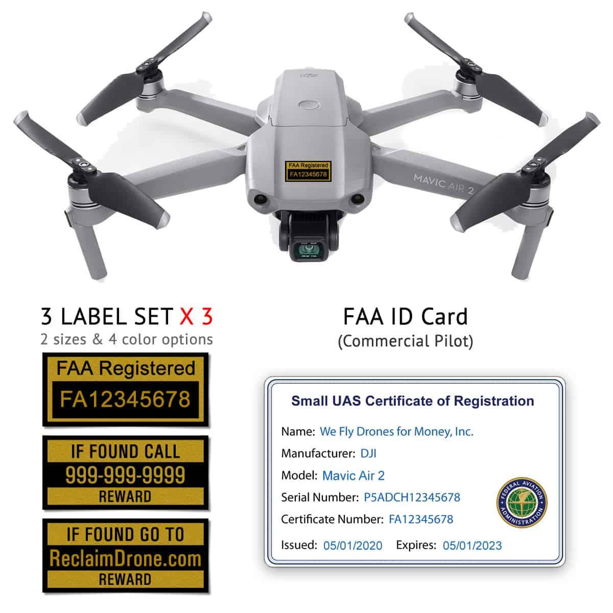 Mavic Air 2 – Bundle – FAA Registration Labels and Commercial pilot FAA ID Card