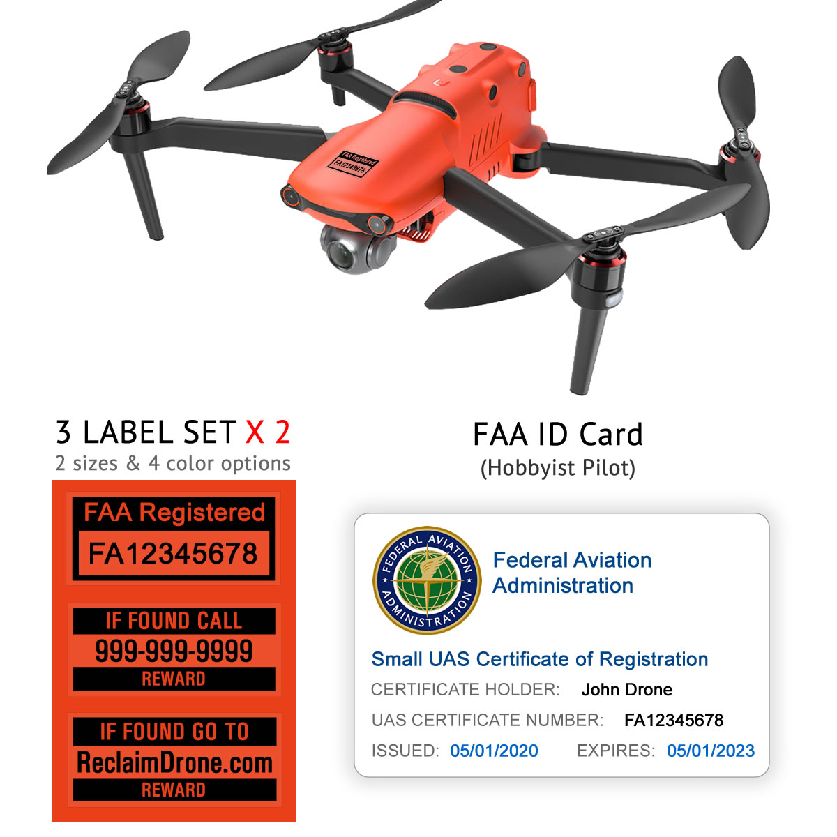 Autel Evo 2 – Bundle – FAA Registration Labels and Hobbyist FAA ID Card