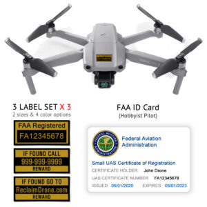 DJI Mavic Air 2 - FAA Identification Bundle, FAA Registration Number Labels and Registration ID Card for Hobbyists