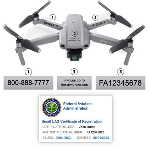 Mavic Air 2 - Bundle - FAA Registration Labels and Hobbyist FAA ID Card