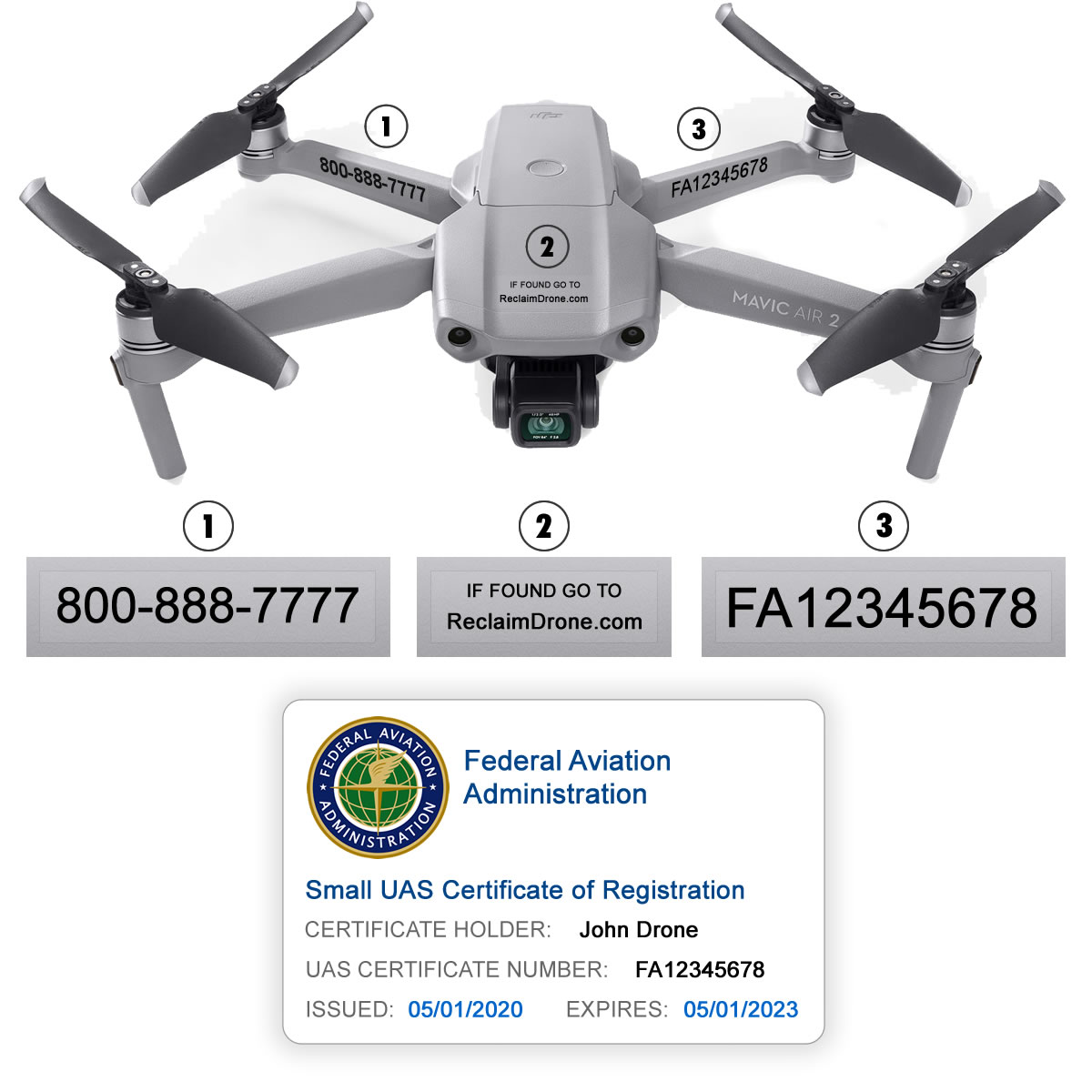 Mavic Air 2 – Bundle – FAA Registration Labels and Hobbyist FAA ID Card