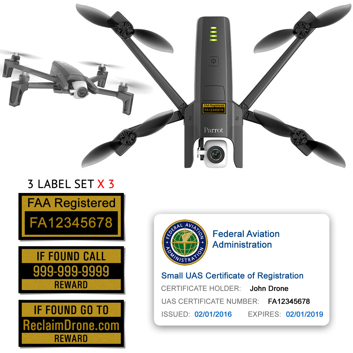Parrot Anafi FAA Certificate Registration ID card and label bundle for hobbyist drone pilots