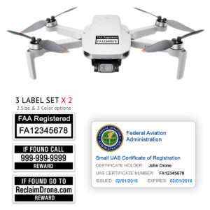 DJI Mini 2 - Bundle - FAA Registration Labels and Hobbyist FAA ID Card
