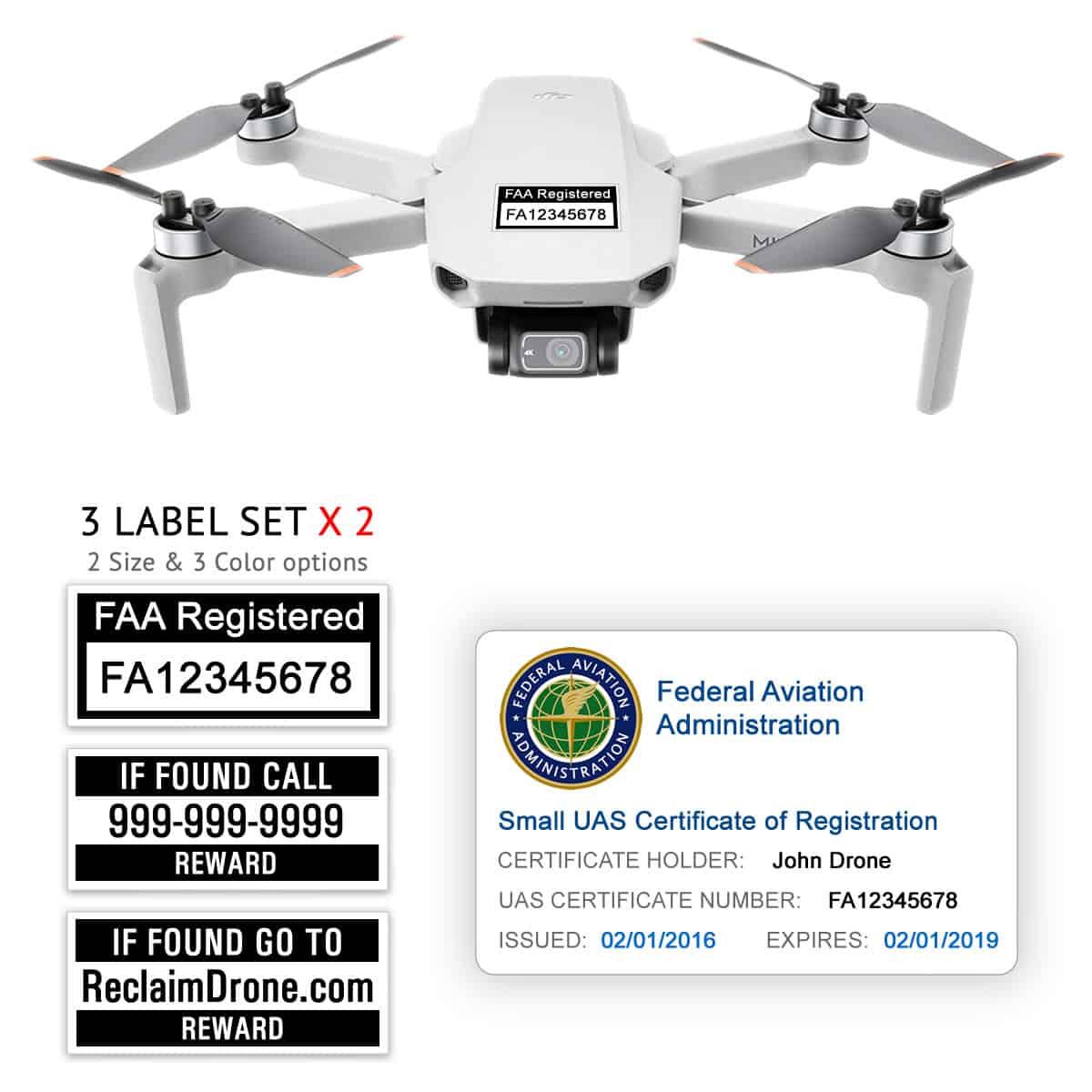 DJI Mini 2 – Bundle – FAA Registration Labels and Hobbyist FAA ID Card