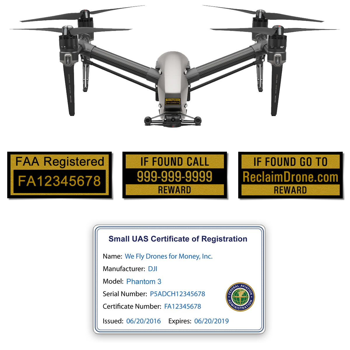 DJI Inspire 1 | 2 FAA Certificate Registration ID card and label bundle for commercial drone pilots