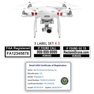 DJI Phantom 3 | 4 FAA Certificate Registration ID card and label bundle for commercial drone pilots