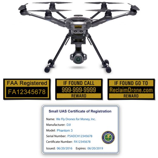 Yuneec Typhoon H FAA Certificate Registration ID card and label bundle for commercial drone pilots