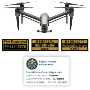 DJI Inspire 1 | 2 FAA Certificate Registration ID card and label bundle for hobbyist drone pilots