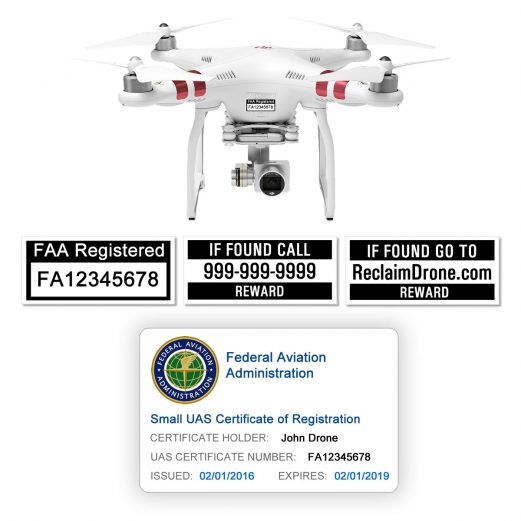 DJI Phantom 3 | 4 FAA Certificate Registration ID card and label bundle for hobbyist drone pilots