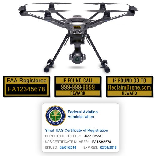 Yuneec Typhoon H FAA Certificate Registration ID card and label bundle for hobbyist drone pilots