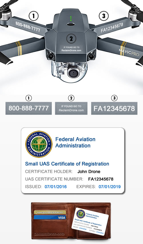 DJI Mavic Pro with FAA labels and FAA ID Card