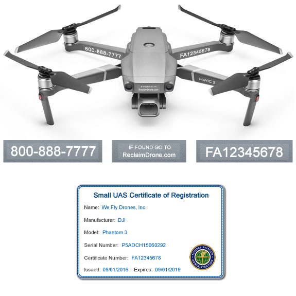 DJI Mavic 2 Pro | Zoom FAA Registration ID Card and drone labels
