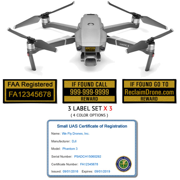 DJI Mavic 2 Pro | Zoom FAA Registration ID Card and drone labels for commercial drone pilots