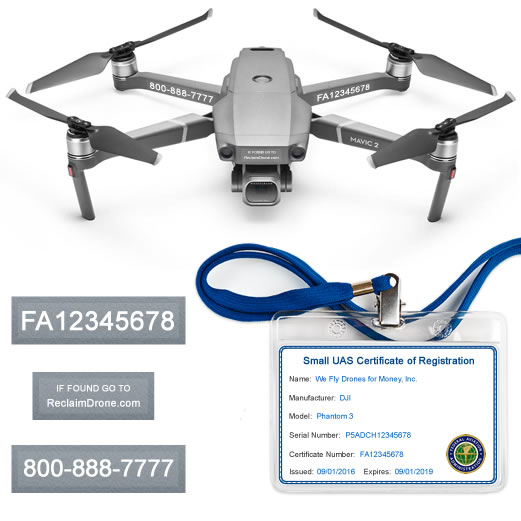 Mavic Pro 2 | Zoom FAA Certificate Registration ID card and label bundle for commercial drone pilots