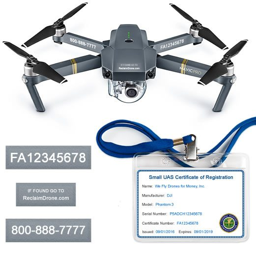 DJI Mavic Pro drone with FAA Certificate Registration ID card and label bundle for commercial pilots