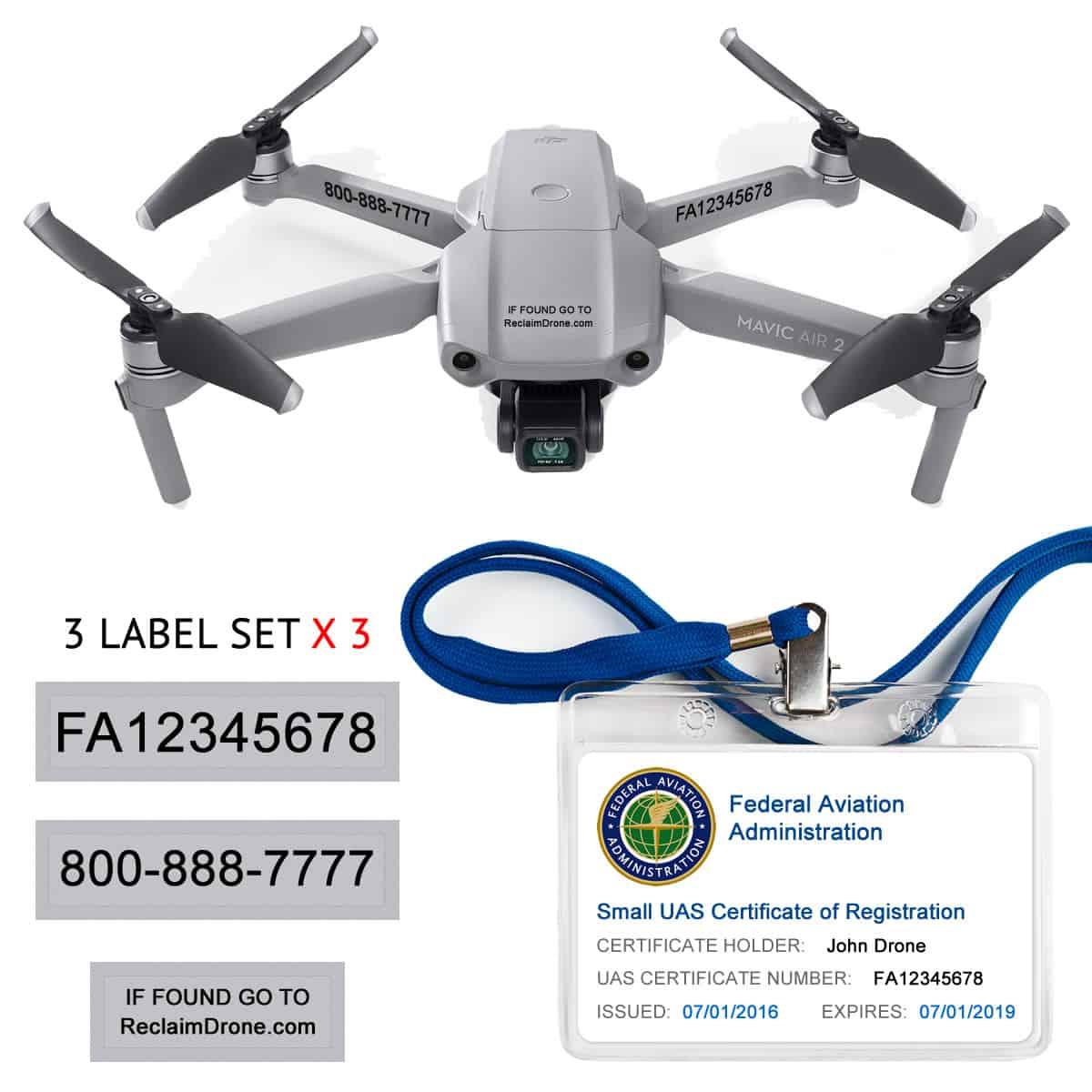 Mavic Air 2 – FAA Registration Hobbyist Bundle – FAA Labels, ID Card, Lanyard